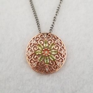 18k Natural Peridot & Diamonds Pendant